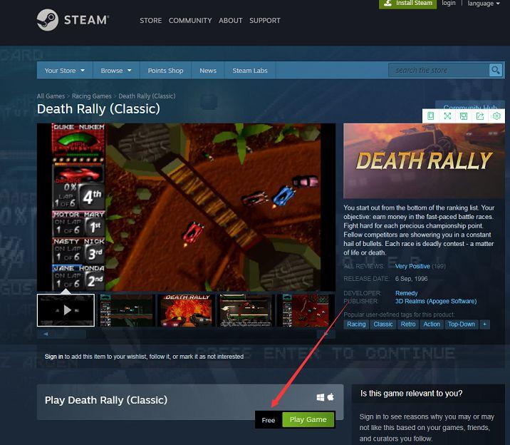 Steam限时免费领取Death Rally (Classic)